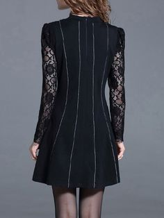 Casual Appliqued Long Sleeve Lace Mini Dress