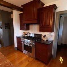 Cabinets are Old Village New England Red over Black paint. The doorway trim is Old Village Antique Pewter paint. Roger S Wright Furniture Country Kitchens, Farmhouse Kitchens, Small Kitchens, Cool Kitchens, Kitchen Designs, Kitchen Ideas, Kitchen Decor, Red Kitchen Cabinets, Pewter Paint