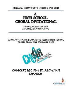 Choir Invitational at GU!  Performance at 1:30pm, St. Al's - Free, Oct. 17