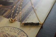 Dainty Faceted Pyrite Necklace. Gold Everyday by EveilleJewelry