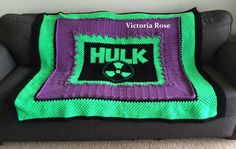 "Did someone say ""Hulk Smash!""? Here he is! The Hulk crochet blanket pattern is officially listed. Please check it out!"