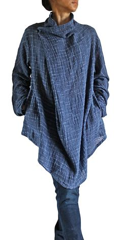 Hand Woven Cotton Nomad Tunic (Blue)