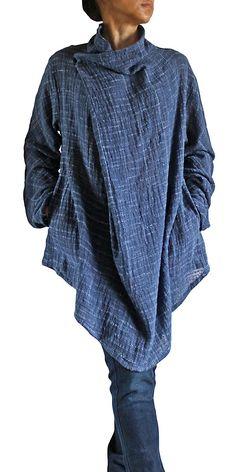 「さわんアジア衣料雑貨店」で取り扱う商品「ターポン手織り綿のデザインチュニック(紺)」の紹介・購入ページ ジョムトン手織り綿、ヘンプ、タイシルク マント、コート、羽織もの