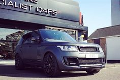 "In stock now Kahn Design's Range Rover Vogue Geneva 2015 show vehicle in Satin Black colour change 23"" Gloss Black wheels full red interior conversion full service and remaining dealer warranty cover.  Now in stock for 109995.00  For more details contact myself at: patel@s-s-c.co.uk 01484 480 777  Please follow @sscbespoke  #landrover #land_rover #rangerover #range_rover #4x4 #kahndesign #rangerover #rangeroversport  #svr #happy #fitness #4x4 #landrover #landroverdefender #defender #amg…"