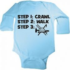 crawl walk fire fighter rescue fireman custom baby infant bodysuit color and size choice black white pink blue great shower gift new