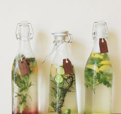 Fruit, vegetable, and herb combination ideas for infused water...