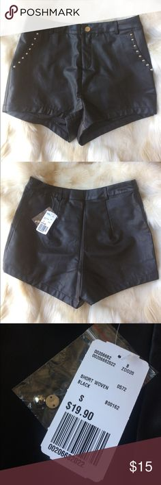 Forever 21 Edgy Faux Leather Shorts Forever 21 high waisted black faux leather shorts. Embellished with silver studs around front pockets. I would say they are true to size, I am an extra small and they are quite baggy on me. Forever 21 Shorts