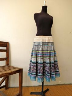Vintage Handwoven  Skirt-Vintage fabric, Handwoven- cross stitch Ethnic clothing