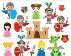 Bought- Princesa y Dragón Clip art juego en calidad 300 dpi Jpeg y