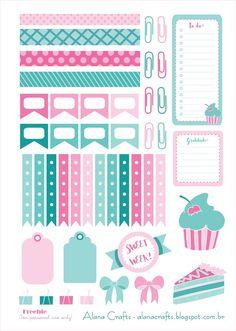 Boa noite pessoal!   Estou liberando mais um printable para planner/agenda, para decorar e deixar a sua semana mais doce!   Espero que goste...