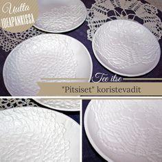 """""""Pitsiset"""" koristevadit syntyvät vaivatta huoneilmassa kovettuvasta valkoisesta DAS askartelumassasta. Ohje Ideapankistamme ja massaa voit tilata www.netmanner.fi #askartelu #craft #clay #lace #koristeideat #diy"""