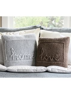 Home and Love Throw Pillows Knit Pattern from Annie's Craft Store. Order here: https://www.anniescatalog.com/detail.html?prod_id=142200&cat_id=469