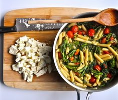 rapini pasta with feta and cherry tomatoes