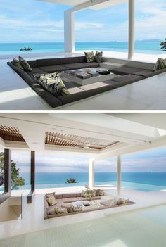 15 Outdoor Seating Areas Built For Entertaining : 15 Outdoor Conversation Pits Built For Entertaining // This outdoor conversation pit is surrounded by both an infinity pool and the ocean to allow for complete and utter blissful relaxation. Dream Home Design, Modern House Design, My Dream Home, Pool House Decor, Conversation Pit, Terrasse Design, Patio Design, Sunken Living Room, Design Exterior