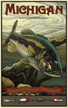 Michigan Bass, A Sportsman's Paradise poster