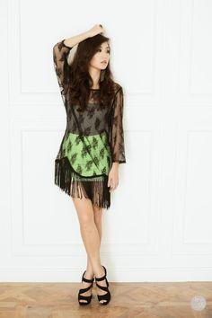 Stay strong - sheer black fringe dress + F21 tube + mini skirt + black heels
