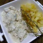 Pollo con salsa gorgonzola (TH)       150 g setas     200 g cebolla     90 g Aceite     550 g pollo     al gusto sal     200 g nata líquida     120 g gorgonzola     2 pellizcos nuez moscada
