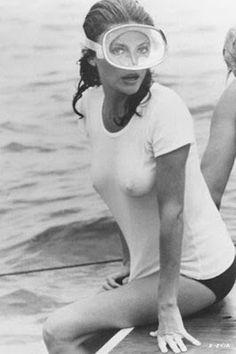 """Jaqueline  Bisset, circa """"The Deep."""" Perhaps when I dive in Turkey, I'll just wear a tee and bottoms?"""