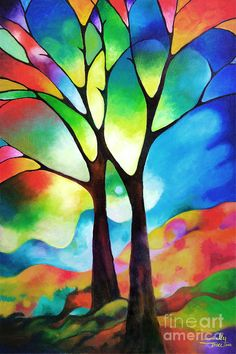 I love the colours and the stained glass effect. Artist: Sally Trace Titles: Two Trees; Medium: Acrylic On Canvas