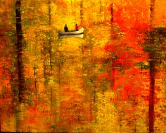 """A Painting for You: """"Reflections of Autumn V"""" ~ 20""""x16"""" A Painting a Day Hudson River School Autumn Tree Landscapes by Connie Tom"""