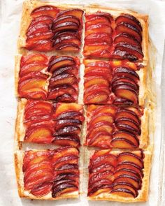 "Striped Plum Tart - Because this tart uses frozen puff pastry, making it is easier than it looks. Alternating black and red plums to create ""stripes"" is optional."
