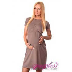 Comfortable 2in1 Maternity and Nursing Dress 7200 Cappuccino Maintain your pre-bump style throughout your pregnancy with our comfortable and affordable 2 in 1 maternity and nursing dress. This short sleeved dress with inner fabric in the neckline has been designed by Purpless to give you comfort and style during your pregnancy and whilst breastfeeding.