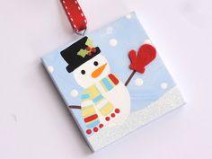 Hand painted canvas snowman ornament. $7.25, via Etsy.