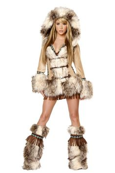This fabulous The Eskimo Coat is a great add on to Fringe Dress to complete the whole outfit!   Features:   Faux Fur Trim   Hooded Sequin Trim   Toggle Front Closure   Acrylic Faux Fur   Costume set includes:  -Coat Made in USA COMPLETE THIS LOOK! DRESS: