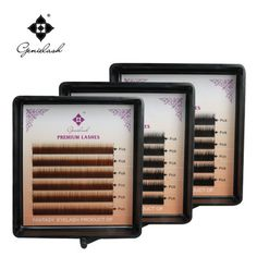 Génie 1 pcs/lot Sourcil Extension Noir/Brun/Brun Foncé Couleur 0.10 Épaisseur Je Curl 5mm 6mm 7mm Sourcils Cils Extension Cils