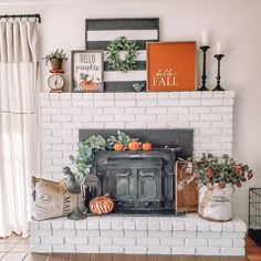Now that it's fall we can finally embrace all the orange accents and pumpkins in our home! 🎃 Thanks for the inspiration,… Farmhouse Decor, Home Decor Inspiration, Decor, Autumn Decorating, Autumn Home, Fall Home Decor, Fall Decor Diy, Fall Fireplace Decor, Fall Halloween Decor