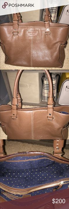 Leather Kate Spade tote. Such a cute bag! It is in super good condition other than a tiny spot of wear on one of the handles. kate spade Bags Totes