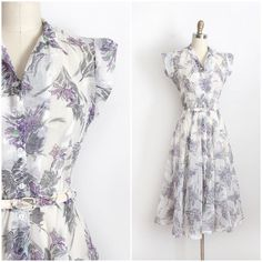 NEW | 1940s sheer floral day dress with belt {34-28-open} by trunkofdresses