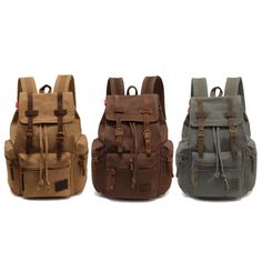 Men/Women s Vintage Canvas Backpack Rucksack Satchel School Bag Hiking Bag