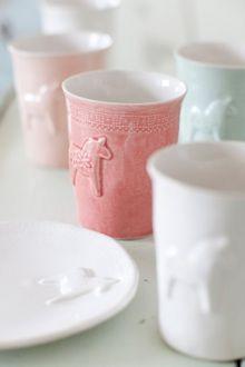Swedish horse pastel ceramic cups