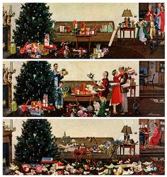 Christmas Morning, by Ben Kimberly Prins. Detail from December 27, 1958 Saturday Evening Post cover.