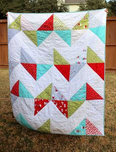 Easy Chevron Quilt made from a layer cake