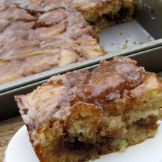 Cinnamon Roll Cake - 3 c. flour; 1/4 t.salt; 1 c. sugar; 4 t. baking powder; 1 1/2 c. milk; 2 eggs; 2 t. vanilla; 1/2 c. butter, melted__Topping: 1 c. butter, softened; 1 c. brown sugar; 2 T. flour; 1 T. cinnamon ___Mix everything except butter. Slowly stir in melted butter; pour into greased 9×13 pan. Topping: Mix all ingredients together. Drop over batter; swirl with a knife. Bake at 350 for 28-32 min. __ Glaze: 2 c. powdered sugar;  5 T. milk; 1 t. vanilla.  __Drizzle glaze over warm…
