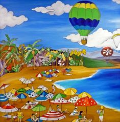 ARTE NAIF: Cuadros naif Balloon Clouds, Balloons, Air Balloon, Henri Rousseau, Pebble Pictures, Les Cascades, Principles Of Art, Spanish Artists, Naive Art