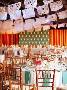 reception, embrace a theme.    lights in between the colored streamers? or no colored streamers?