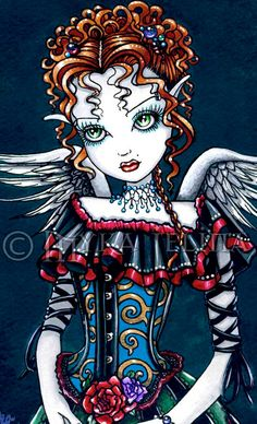 Annabelle Gothic Victorian Angel Fairy Signed 13 X by MykaJelina, $24.99