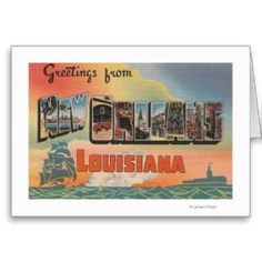 Shop New Orleans, Louisiana - Large Letter Scenes Postcard created by LanternPress. Greeting Card Template, Card Templates, Greeting Cards, New Orleans Louisiana, Postcard Design, Large Letters, Photo Postcards, Postcard Size, Smudging