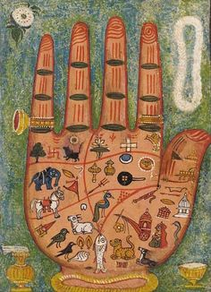A Painting of a Hand, Hastakara Yantra, century Tantric painting from Rajasthan, India Illustrations, Illustration Art, Tantra Art, Palmistry, Hindu Art, Indian Paintings, Abstract Paintings, Oil Paintings, Medieval Art