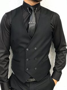 Kenzie Black Slim Fit Made of wool Suit Black Outfit Men, All Black Suit, Black Suit Wedding, Stylish Mens Haircuts, Stylish Mens Outfits, Men's Suits, Groom Suits, Summer Outfits Men, Men Summer