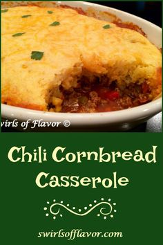 Chili Cornbread Bake is an easy recipe that will certainly become a family favorite A saucy homemade chili is smothered with a cheesy creamy cornbread topping and baked until hot bubbly and golden The perfect comfort food dinner on a chilly evening Chili Cornbread Casserole, Cheesy Cornbread, Mexican Cornbread, Casserole Recipes, Jiffy Cornbread, Spicy Recipes, Mexican Food Recipes, Beef Recipes, Cooking Recipes