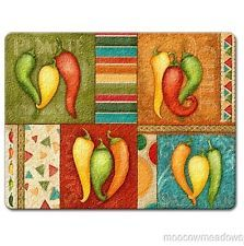 Amazing Chili Pepper Decor | ... Chili Peppers Cutting Board Red Yellow Green Kitchen  Decor