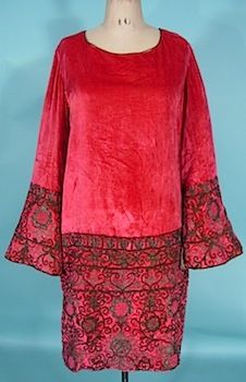 1925/1926 HOUSE OF BABANI, Paris, Rose Silk Velvet Dress with Braided Metallic Embroidery and Gold Lame Lined Bell Sleeves! Via AntiqueDress.com/.