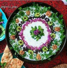 Mast-o-Khiar (Iranian cucumber and mint yougurt) with #Persian flat #bread for #Iftar on a hot #summer night  realiran.org