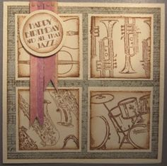 Man's tile card, music stamps by Dimension Fourth