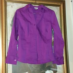 Purple blouse This blouse is by Worthington. Size 4 and has a bit of stretch to it. Beautiful color. Worn once. Like new. Worthington Tops Button Down Shirts