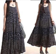 Maxi Dress Swing dress  spring dress Summer Dress Pleated Dress loose blouse blue red color cotton Linen Sundress for Women slip dress (372)...